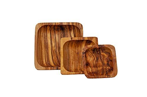 Grazioso set di ciotole per snack, 3 pezzi, quadrate in legno d\'ulivo.