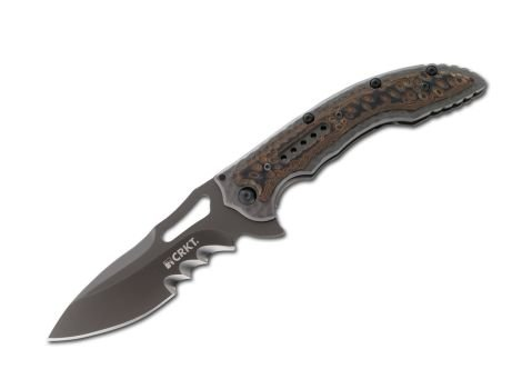 Columbia River Knife & Tool Taschenmesser CRKT Fossil Veff Serration, braun, STANDARD