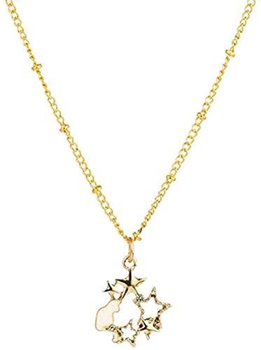 ZQMC Collar romántico Dulce Lindo Forma de Estrella y Luna Collares Pendientes para Mujeres y niños Adornos de Cuello Accesorios