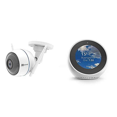 Echo Spot bianco + EZVIZ ezTube 1080P Telecamera di Sicurezza con Night Vision, Difesa Attiva con Luce Stroboscopica e Sirena, Videocamera Esterna, Doppia Antenna Wi-Fi Estern, Audio a 2 Vie, Altoparlanti High-Db, IP66 Antipolvere e Impermeabile, Servizio di Cloud disponibile