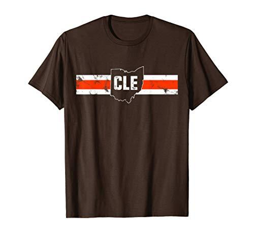 Ohio Cleveland Stripe Football Fan T-Shirt T-Shirt