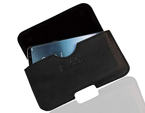 MATADOR BlackBerry KeyOne/KeyOne 2 ECHT Leder-Hülle Hülle Tasche Quertasche Gürteltasche Gürtelschlaufe Magnetverschluss Schwarz