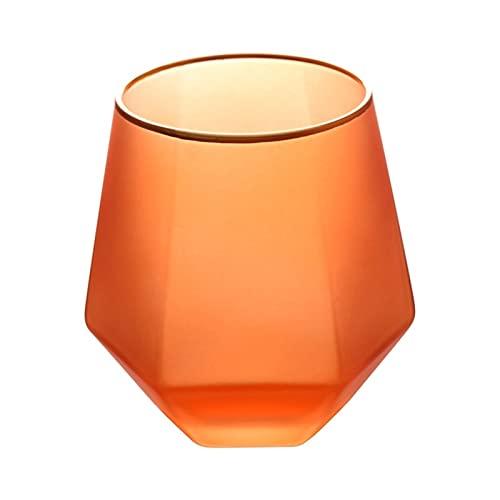 Juego de 2 vasos de 11 oz para agua, leche, zumo, cerveza, whisky, vino I vasos de 11 oz – Juego de 2 (color: naranja)