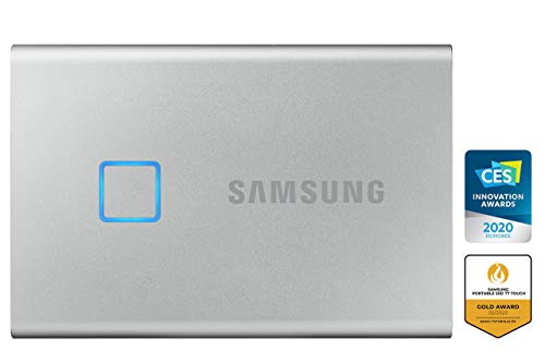 Samsung T7 Touch Portable SSD - 500 GB - USB 3.2 Gen.2 Externe SSD Metallic Silver (MU-PC500S/WW)