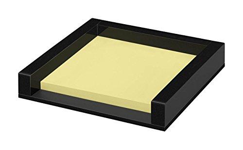 Wedo 631801 Zettelbox Black Office aus Acrylglas, 50 Blatt Haftnotizen, Gummifüße 76 x 76 mm, im Geschenkkarton, Schwarz