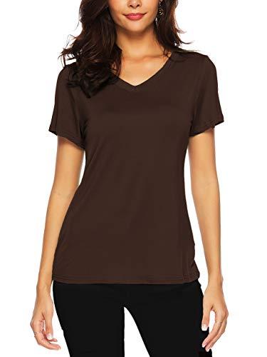 AMORETU Tuniken T-Shirt Damen Sommer Casual Bluse Tops Kurzarm und Langarmshirt Oberteil, C-braun, 48 50 / XXL
