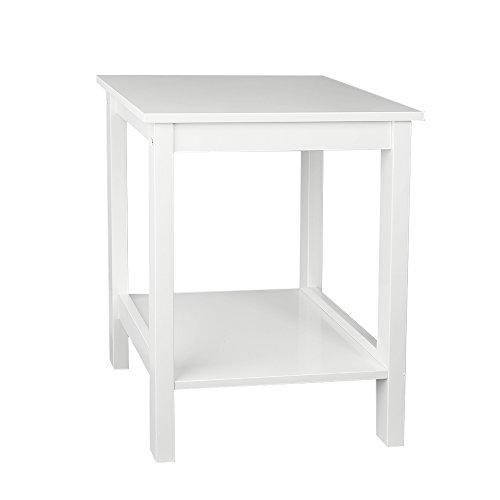 Woodluv Bedside MDF Table Shelf Cabinet with Bottom Shelf Storage Unit- White