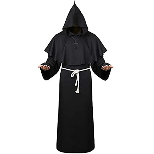 JIUYECAO Ropa de monje medieval de Halloween, traje de monje de mago, negro Ladult capa de terciopelo de Halloween con capucha traje medieval de bruja Wicca Vampiro Halloween vestido abrigos