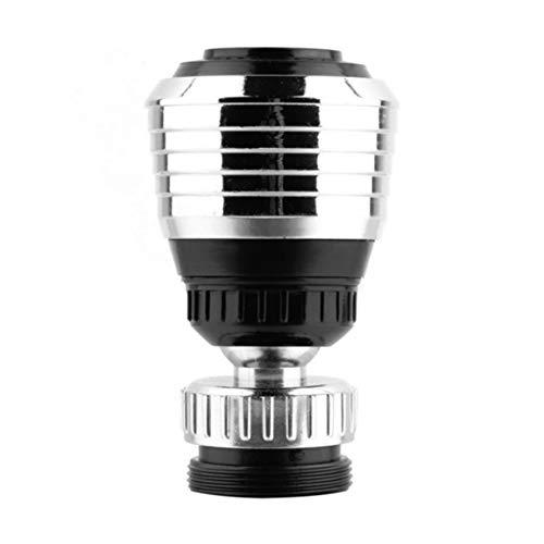 MOHAN88 Grifo Giratorio de 360 ° Difusor de Extremo Giratorio Dispositivo Adaptador de Ahorro de Agua Filtro de válvula de baño de Ducha Anti-Salpicaduras para Uso doméstico - Plata y Negro