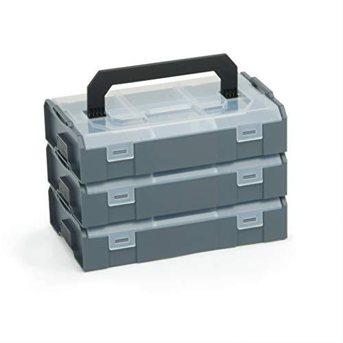 Bosch Sortimo L BOXX Mini anthrazit | 3 Stk. im Set Deckel transparent | Ideale Aufbewahrungsbox Sortierbox | Brotdose Kleinteilemagazin Alternative