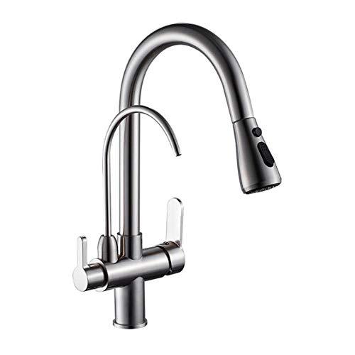 rubinetto 3 vie, rubinetto cucina ottone miscelatore cucina spazzolato rubinetto tre vie con doccetta per cucina Rubinetto per acqua pura-spazzolato