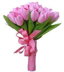 Ramo de 30 tulipanes rosas naturales+tarjeta dedicatoria personalizada gratis