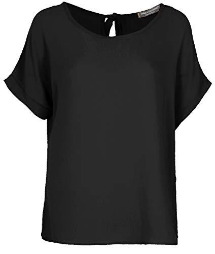 Emma & Giovanni - T-Shirt/Oberteile Oversize mit Kurzarm Segelstoffe - Damen (Schwarz, 38)