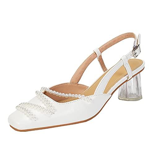 JUSTMAE Sandalias de Boda de Verano para Mujer, Zapatos de Novia con...