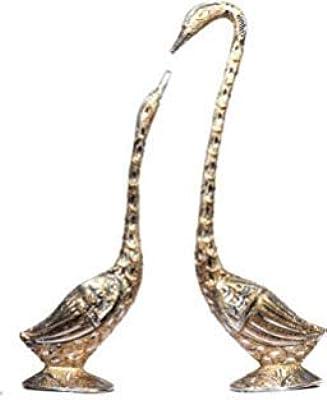 obbi Metal Set of Two Swan Love Birds, Feng Shui Romantic White Metal Swan Pair,