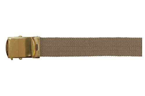 MFH Gürtel mit Metallschloß Koppel Stoffgürtel Länge bis 130 cm verstellbar 3 cm breit viele Farben (Khaki)