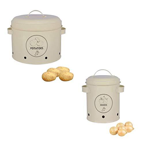 Rivanto Vorratsdosen 2er Set Kartoffeln und Zwiebeln, bestehend aus Zwiebeldose und Kartoffeldose, aus Metall
