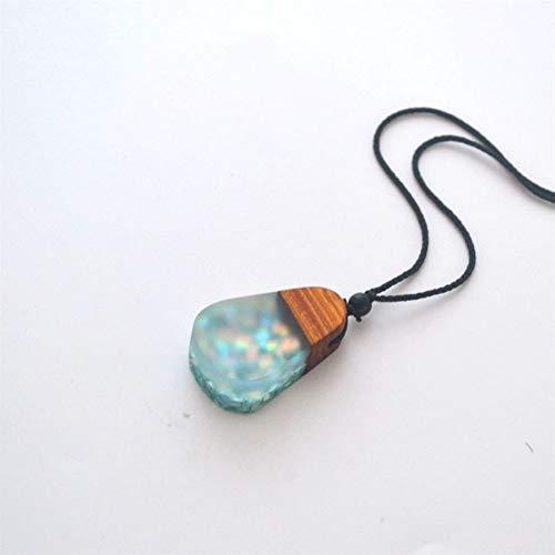 AdorabFruit Présent Pendentif Collar Especial, Nueva joyería de Resina de Madera Vieja, joyería for Hombres y Mujeres, Las Cuerdas se Pueden Ajustar (Metal Color : ES1809261)