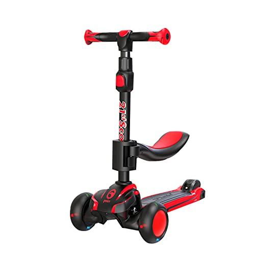 2 en 1 scooter infantil,scooter plegable de la dirección de inclinación de cubierta ultra ancha,con ruedas de PU parpadeante y 5 alturas ajustables, adecuadas para niños y niñas de 2 a 12 años,Rojo