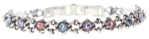 Konplott: Armband Spider Daisy pastel multi, tolles Gliederarmband mit Kristallsteinen in multicolor Pasteltönen, für Damen/Frauen