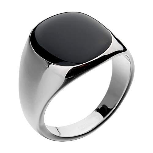 temorry Retro Men's Rings, Rectangle Signet Ring for Men, Stainless Steel Compound Stone Agate Retro Men Biker Ring, Classic Knight Flower Stainless Steel Biker Rings