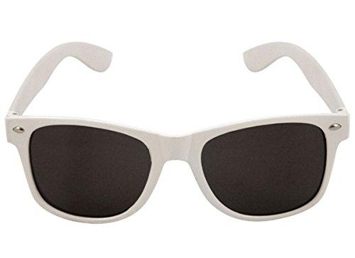 Brille Austin für Erwachsene weiß Rahmen dunkel Objektiv Willy Wonka Fancy Dress Party Accessory