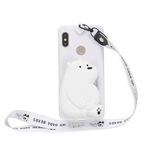 Miagon Silikon Hülle für Huawei P30 Lite,3D Süß Brieftasche Lager Tasche Design mit Halskette Kordel Schnur Handykette Necklace Band,Weiß Bär