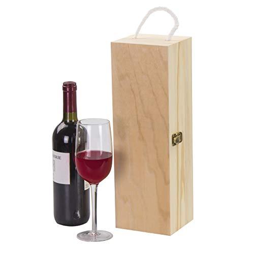 LAUBLUST Holzkiste für Weinflaschen – 38 x 13 x 12 cm, Natur, FSC® | Weinkiste mit Trage-Seil, Deckel & Verschluss – Geschenkbox für eine Wein-Flasche | Wein-Aufbewahrung | Überraschungskiste - 4