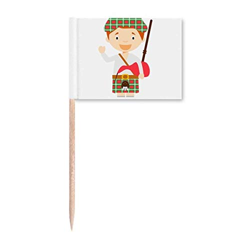 Rot Grün Schottland Cartoon Zahnstocher Flaggen Marker Topper Party Dekoration