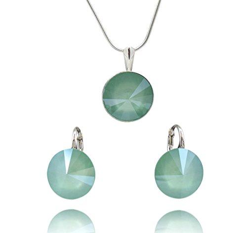 Crystals & Stones Rivoli - Juego de pendientes y colgante con cadena de plata de ley 925 con elementos originales de Swarovski - Joya con estuche