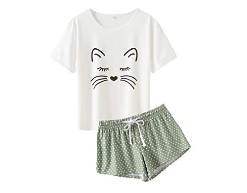 MyFav Frauen Schlafanzug Sanft gemütlich Karikatur Katze Kurzarm Homewear Pyjama Set, Grün, Small
