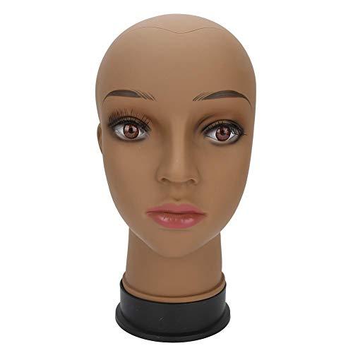 Weibliche Schaufensterpuppe Kopf Modell Kosmetologie Trainingskopf für Perücke Anzeige (Kaffee Hautfarbe) PVC Schaufensterpuppe Büste Perücke Köpfe mit künstlichem Augapfel für Hut Perücken Sonnenbril