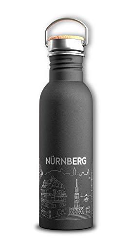 citybottles: Nürnberg v.2 | Edelstahl Trinkflasche | 750ml | Sport, Reise, Fahrrad | mit Online-Stadtführer, Sehenswürdigkeiten