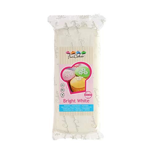 FunCakes Fondant para Cubrir Tartas, Cupcakes, Galletas o Modelar color Extra Blanco: Sabor Vainilla, Flexible, Sin Gluten, Halal, Kosher D, Apto Véganos, 1k, FC97100