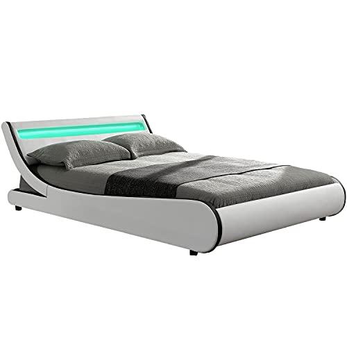 ArtLife Polsterbett Valencia mit Lattenrost und LED Beleuchtung im Kopfteil | 140 x 200 cm | weiß | geschwungen | Bett Einzelbett Jugendbett