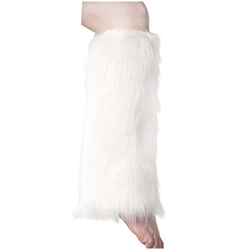 ELLITE Faux Fur Warm Fuzzy Leg Warmers/Boot Sleeves/Boot Covers-White