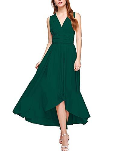 PERSUN Women's Convertible High Low Dresses Multi Way Transformer Wrap Evening Bridesmaid Dress, Green (Apparel)