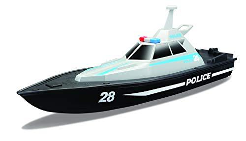 Maisto Tech R/C Polizeiboot: Ferngesteuertes Spielzeugboot im Polizei-Look, 35 Meter Reichweite, Akku mit USB-Ladefunktion, 34 cm, schwarz (582196)