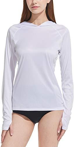 TSLA Camicia da nuoto da donna, UPF 50+, a maniche lunghe, protezione dai raggi UV/solare, taglia normale, Quick Dry, Donna, Fss06, confezione da 1, colore bianco, XXL
