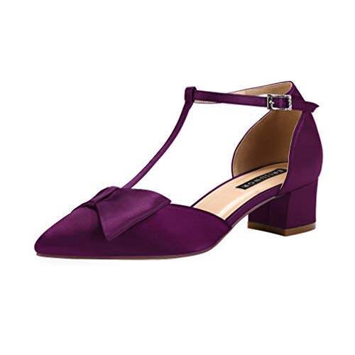 ERIJUNOR E0079 Bow Shoes Comfortable Chunky Low Heels for Women Pointy Toe T-Strap Evening Wedding Satin Shoes Plum Size 8