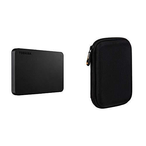 Toshiba HDTB410EK3AA Canvio Basics Tragbare Externe Festplatte USB 3.0, 1TB schwarz & AmazonBasics Schutzhülle für Externe Festplatten