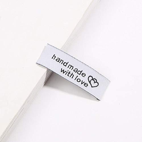 Yulakes 100 Stück Handmade Mit Liebe Stoff Labels Tags Kleideretiketten, Handmade Stoffetiketten Textiletiketten,Handmade Etiketten Nähen DIY Dekor (Weiß)