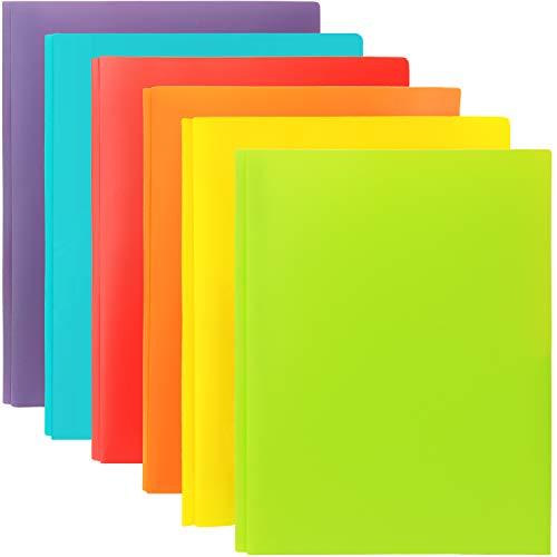 Youngever 12 Heavy Duty Plastic Two Pocket Folders with Prongs, Metal Prongs Fastener, Heavy Duty Plastic 2 Pocket Folder, in 6 Colors