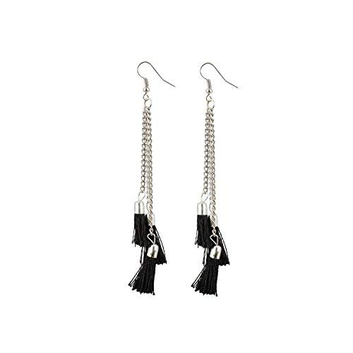 Radhna Silver Plated Alloy Tassel Earrings For Women & Girls Black - Indian Traditional Design With Bollywood Style Touch For Wedding Or Any Other Functions