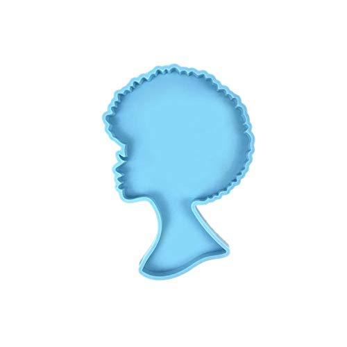 QQDS Moldes De Silicona para Mujer Afro, Molde De Silicona para Llavero De Mujer Afro, Moldes De Silicona para Manualidades Epoxi con Cabeza De Mujer, Colgantes para Manualidades Reutilizables heathly