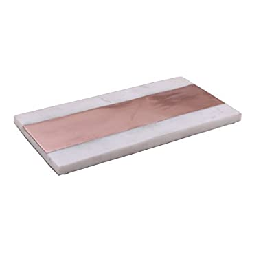 12  Marble Serving Charcuterie Board Platter with Solid Copper Inlay