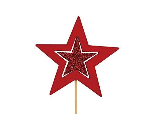 10 Dekostecker – Stern aus Holz am Stab mit Glitter - rot Ø8xL28cm