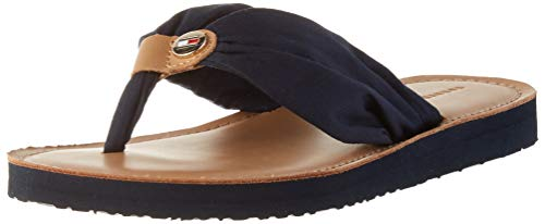 Tommy Hilfiger Damen Leather Footbed Beach Geschlossene Sandalen, Blau (Desert Sky Dw5), 39 EU