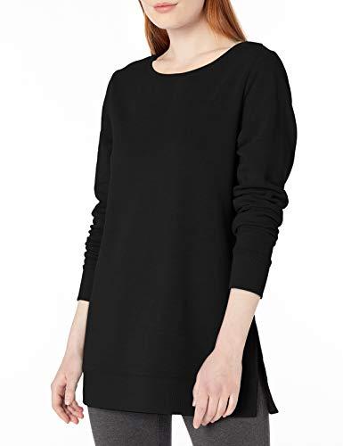 Amazon Essentials Women's Open-Neck Fleece Tunic, Black, Large