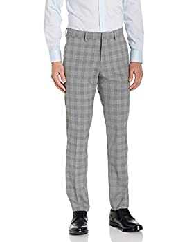 Kenneth Cole REACTION Men s Stretch Traditional Plaid Slim Fit Flat Front Flex Waistband Dress Pant Light Grey 33 X 32
